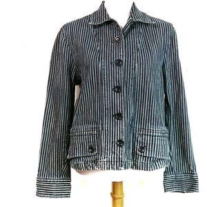 Jones New York Striped Denim Jean Jacket Large